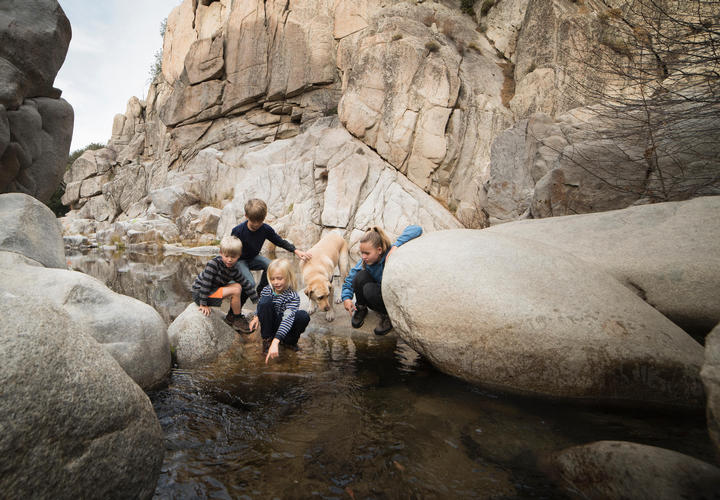 A family and their dog discover a natural wading pool during their hike through the San Bernardino National Forest near Lake Arrowhead Resort and Spa.