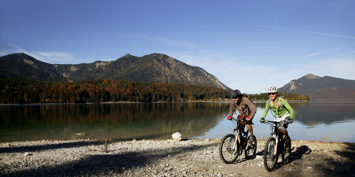 People riding mountain bikes near a lake