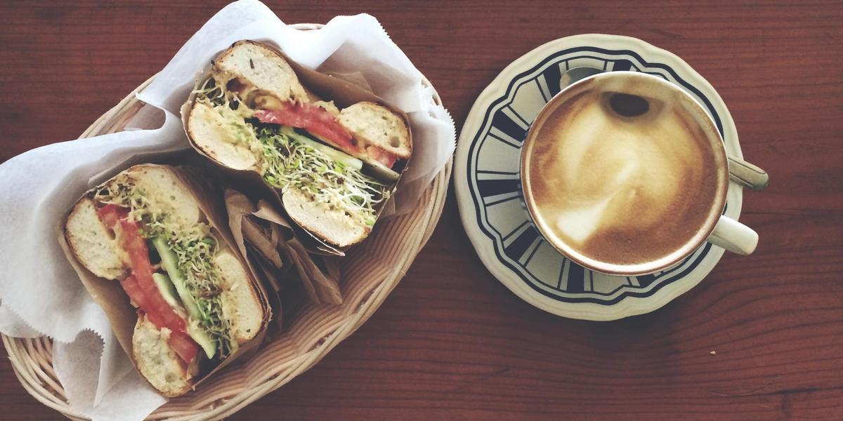 Cafe style sandwich and coffee