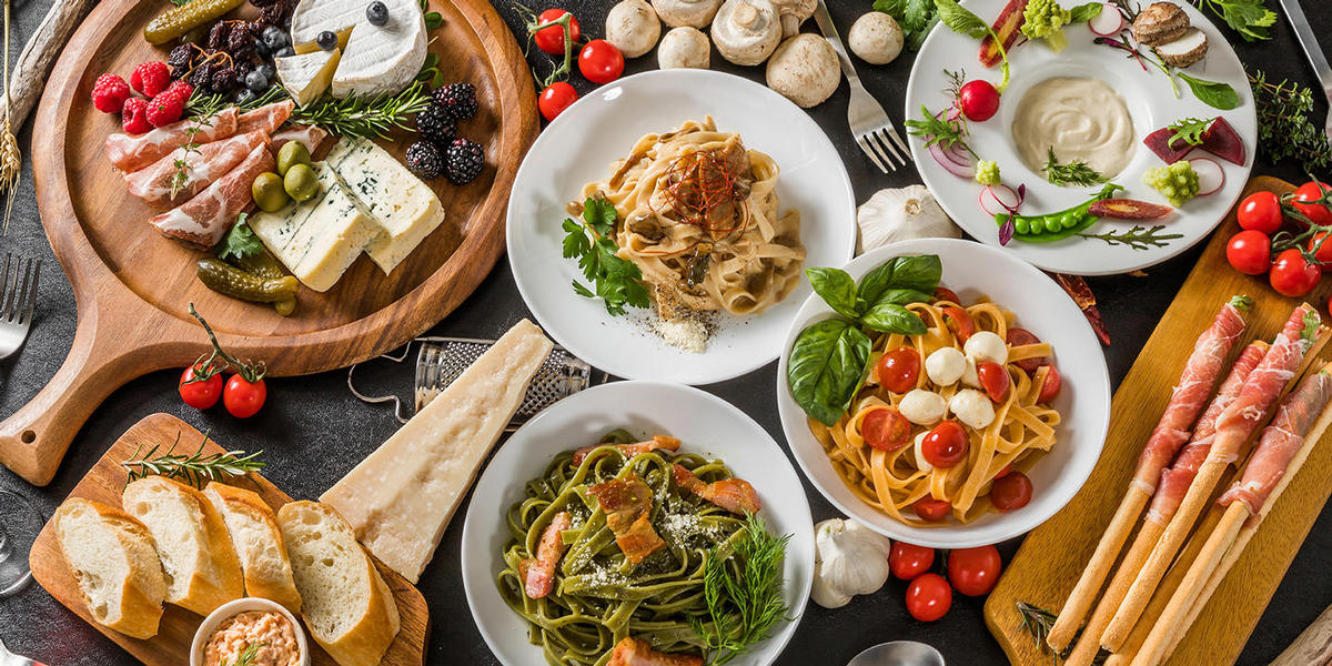 Assorted Italian pastas, meats, and breads