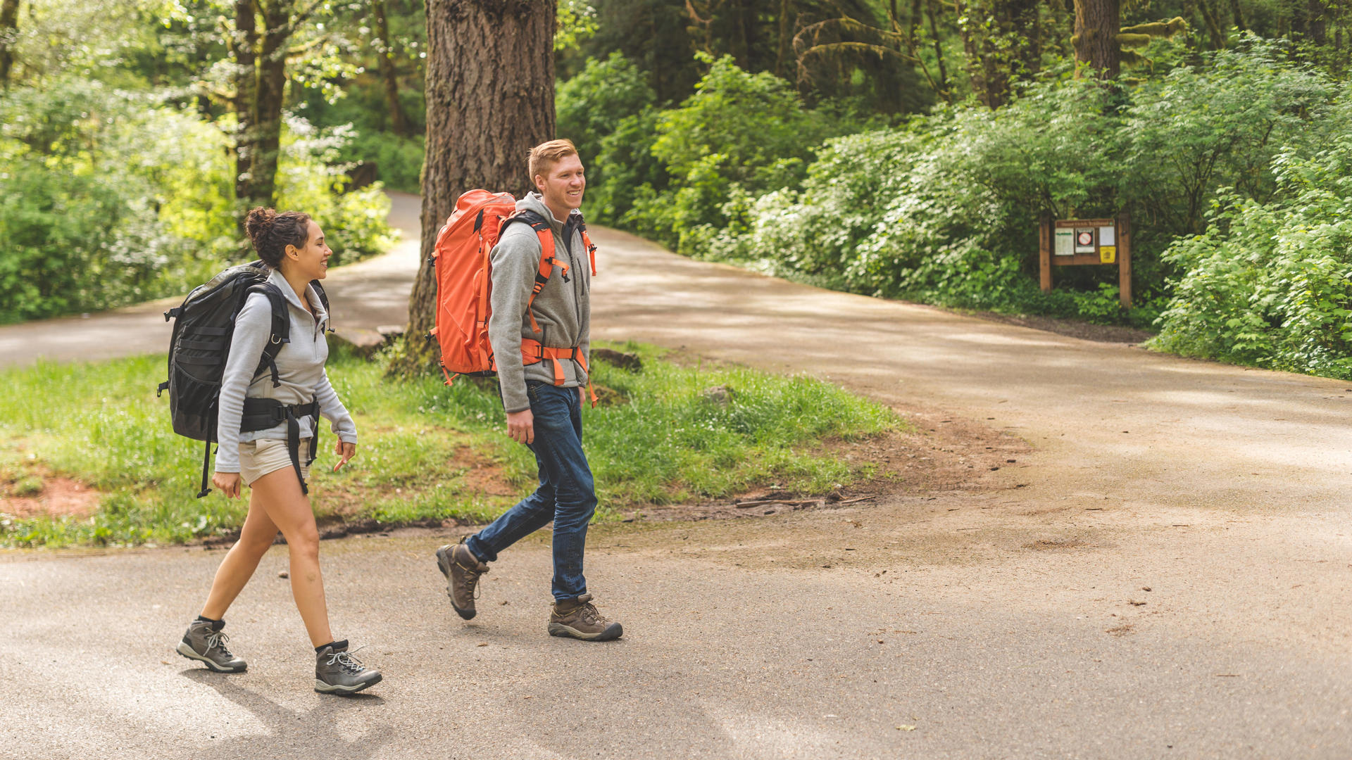 Two hikers set off on a trek through the San Bernardino National Forest near Lake Arrowhead Resort and Spa.
